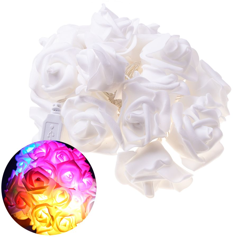 LED garland / decorative lights in the shape of roses - multicolored