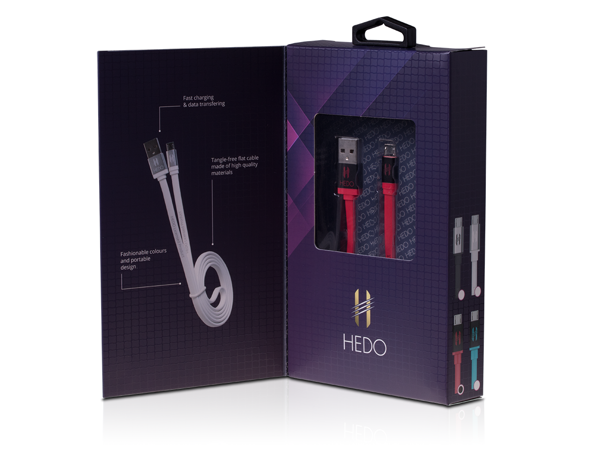 Cable micro-usb HEDO - red (original) - Retail Pack