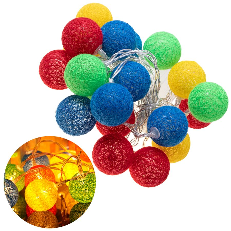 Decorative lamps cotton balls - multicolored