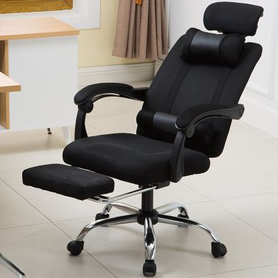 Swivel armchair with footrest and headrest - black