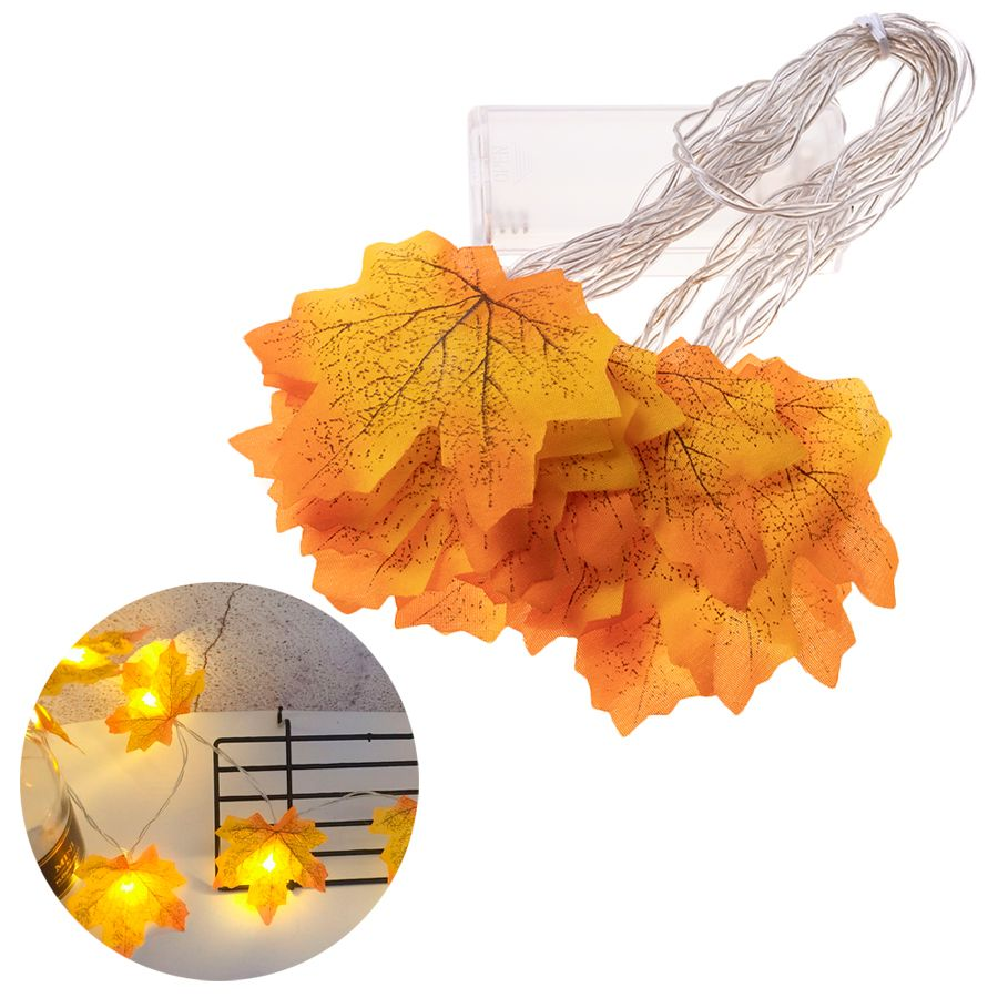Decorative LED lamps in the shape of a maple leaf - yellow