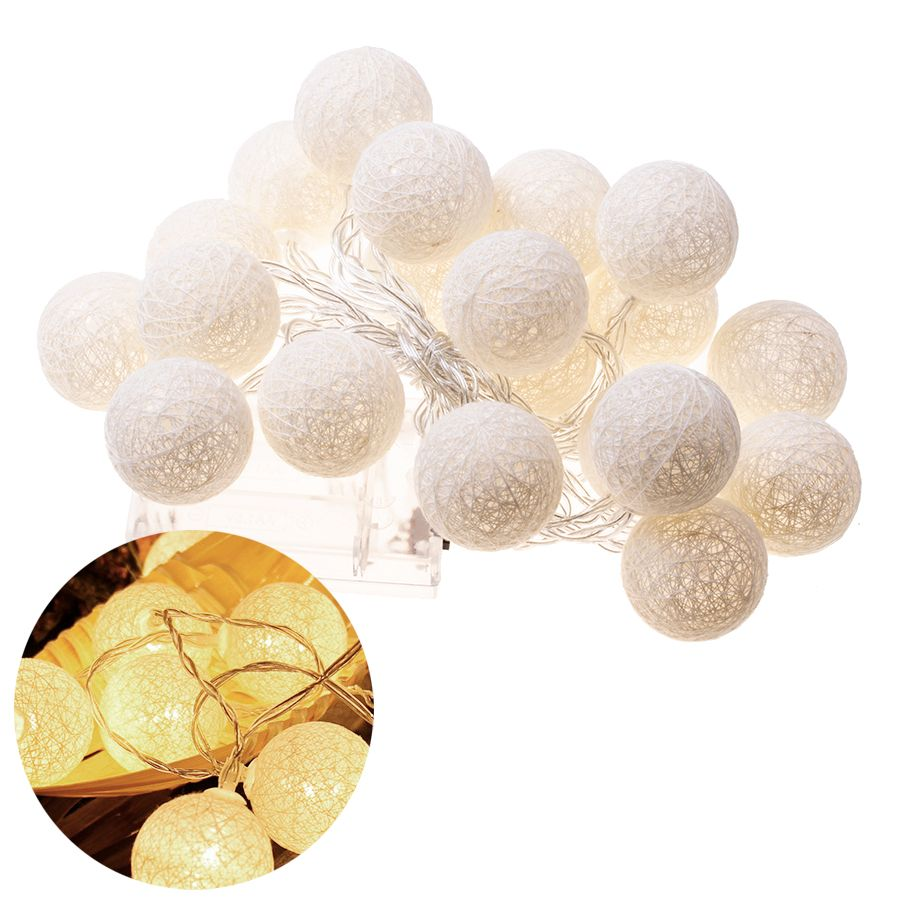 Decorative lamps 2.3m, cotton balls - white