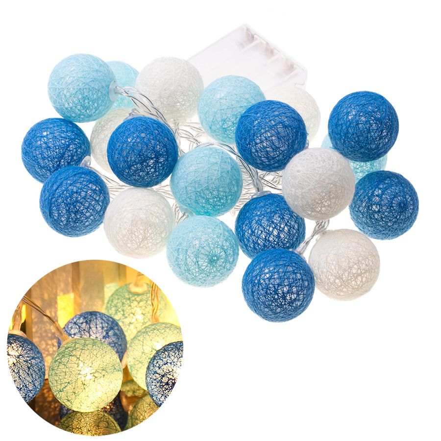 Decorative lamps cotton balls - blue
