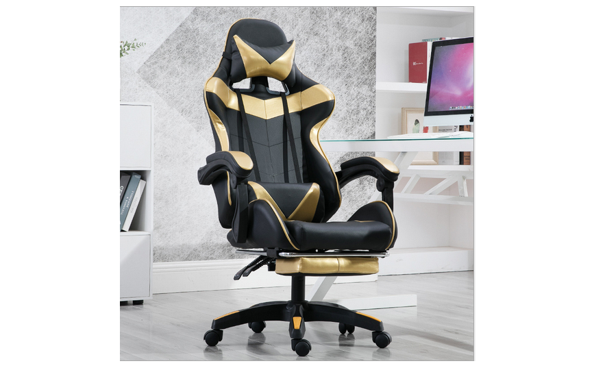 Computer / gaming chair with a footrest - black and gold