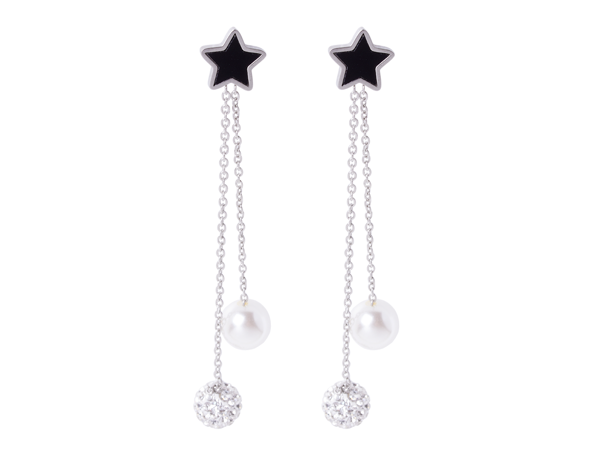 Earrings stars with hanging rings Xuping - silver
