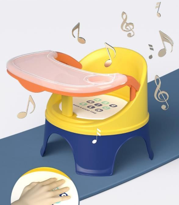 Portable baby chair for feeding and playing - orange and navy blue