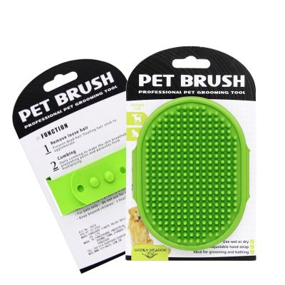 Massage brush for a dog - green