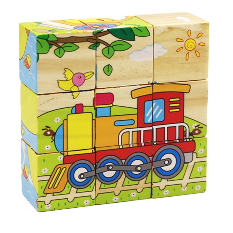 """Stacking cubes for children """"Vehicles"""""""