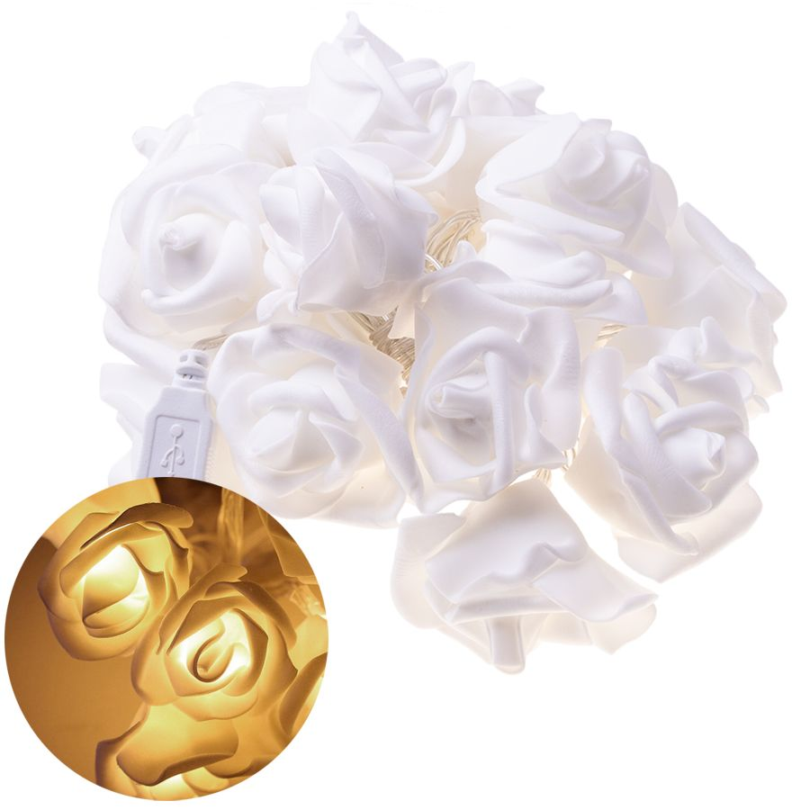 Garland / decorative LED lights in the shape of roses - warm color