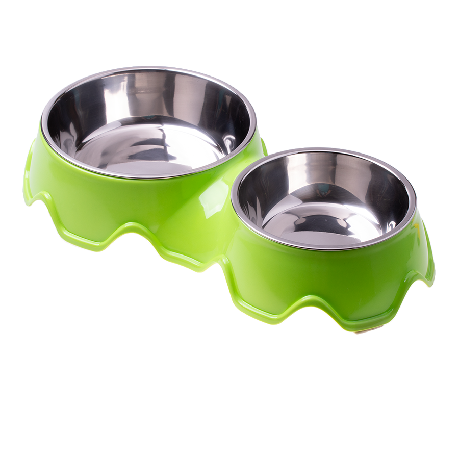 Double stainless steel dog / cat bowl - green