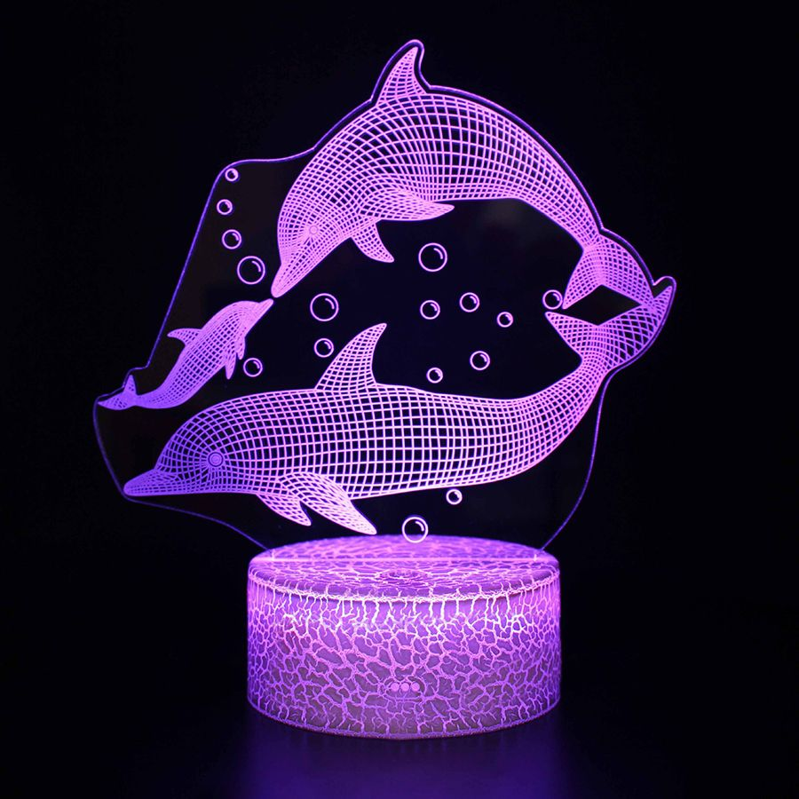 "3D LED night lamp ""Dolphin"" Hologram + remote control"