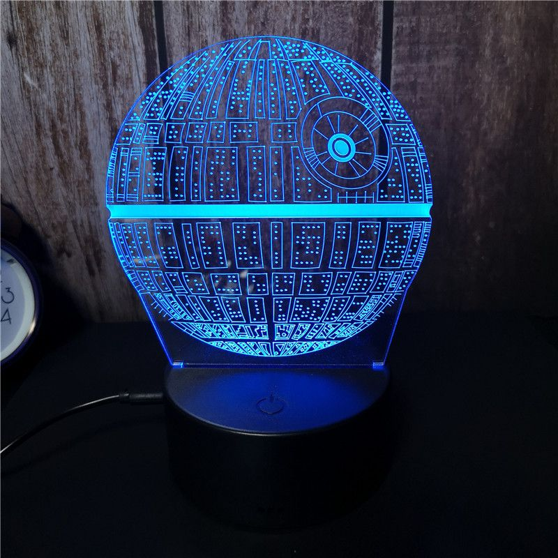 "3D LED night lamp ""Star Wars - Death Star"" Hologram + pilot"