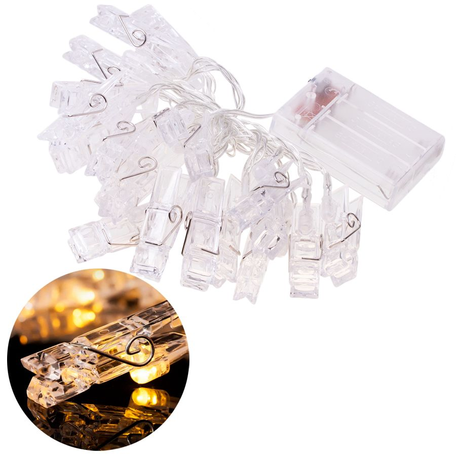 Decorative LED chain in the form of photo clips - warm white light