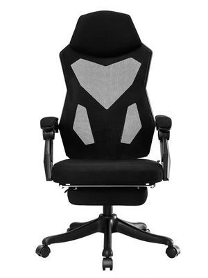 Swivel office chair with headrest and footrest - white