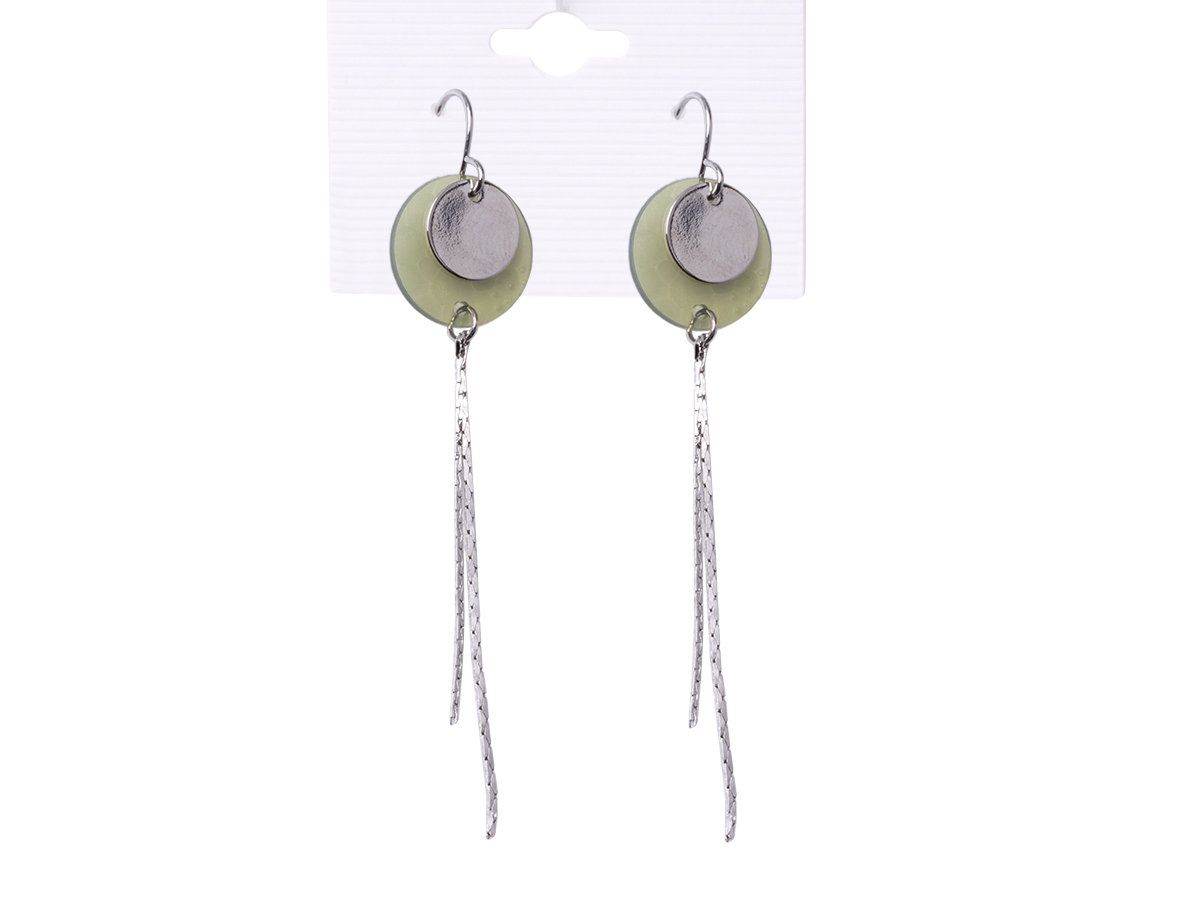 Earrings hanging green circles with hanging silver threads