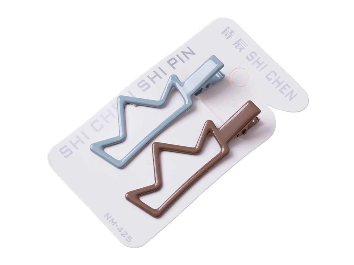 """A set of 2 pieces hairpins """"crown"""" - grey and brown"""