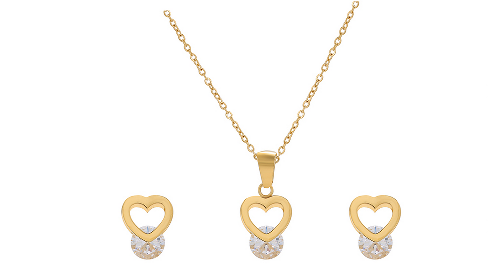 Necklace set with earrings Xuping Heart - gold