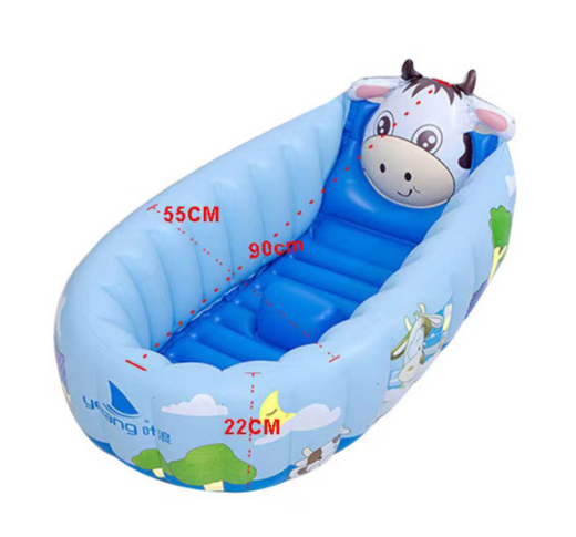 Inflatable baby bathtub with balls - shape of a cow