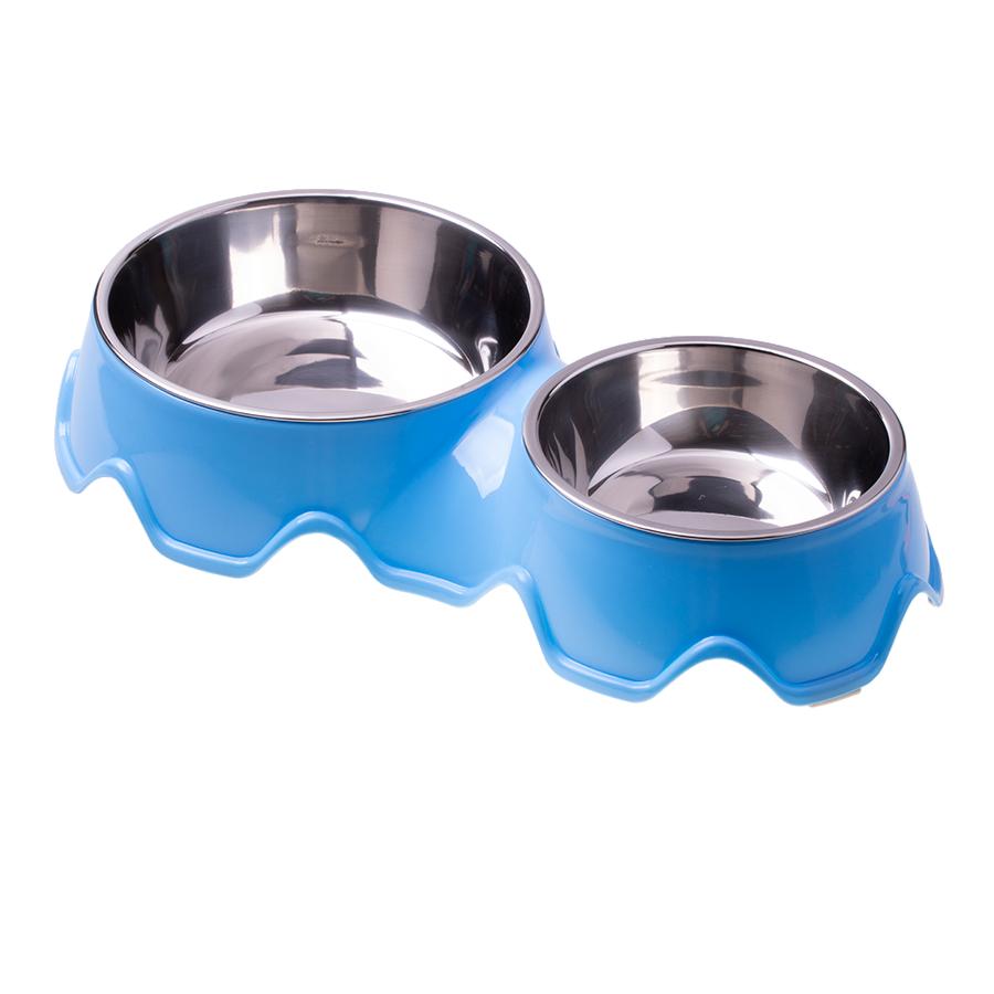 Double stainless steel dog / cat bowl - blue