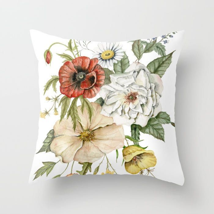 Decorative pillowcase with flowers - pattern X