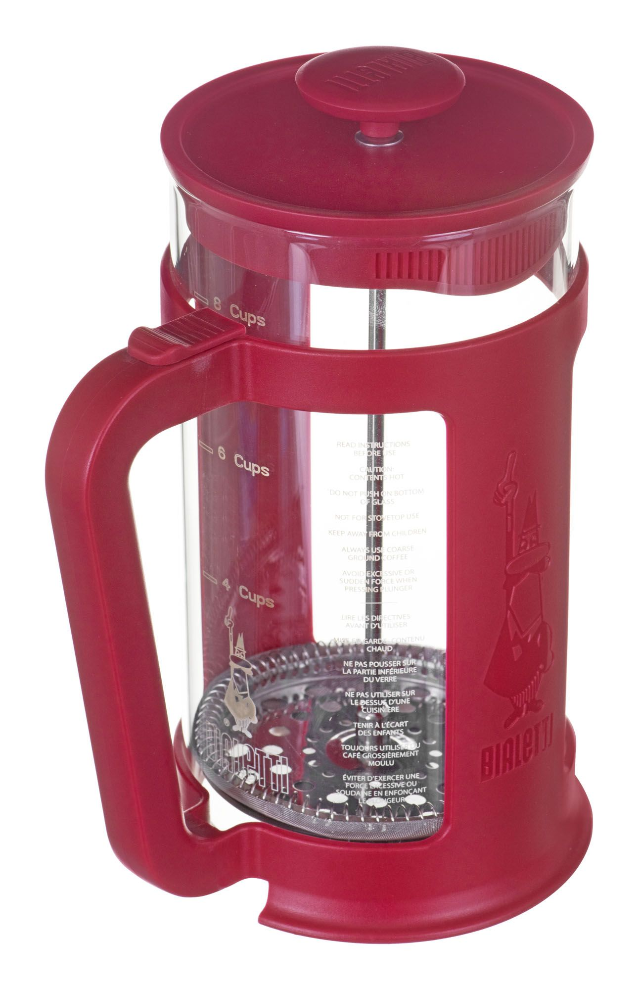 Coffee Maker Bialetti French Press Smart 1 L Red, Transparent