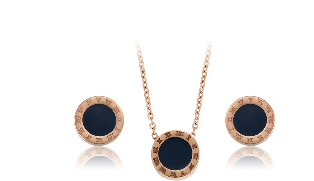 Set of Xuping earrings with black coins - gold