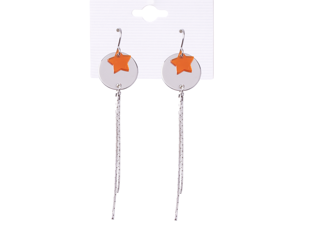 Earrings hanging silver circles with orange stars with hanging silver threads