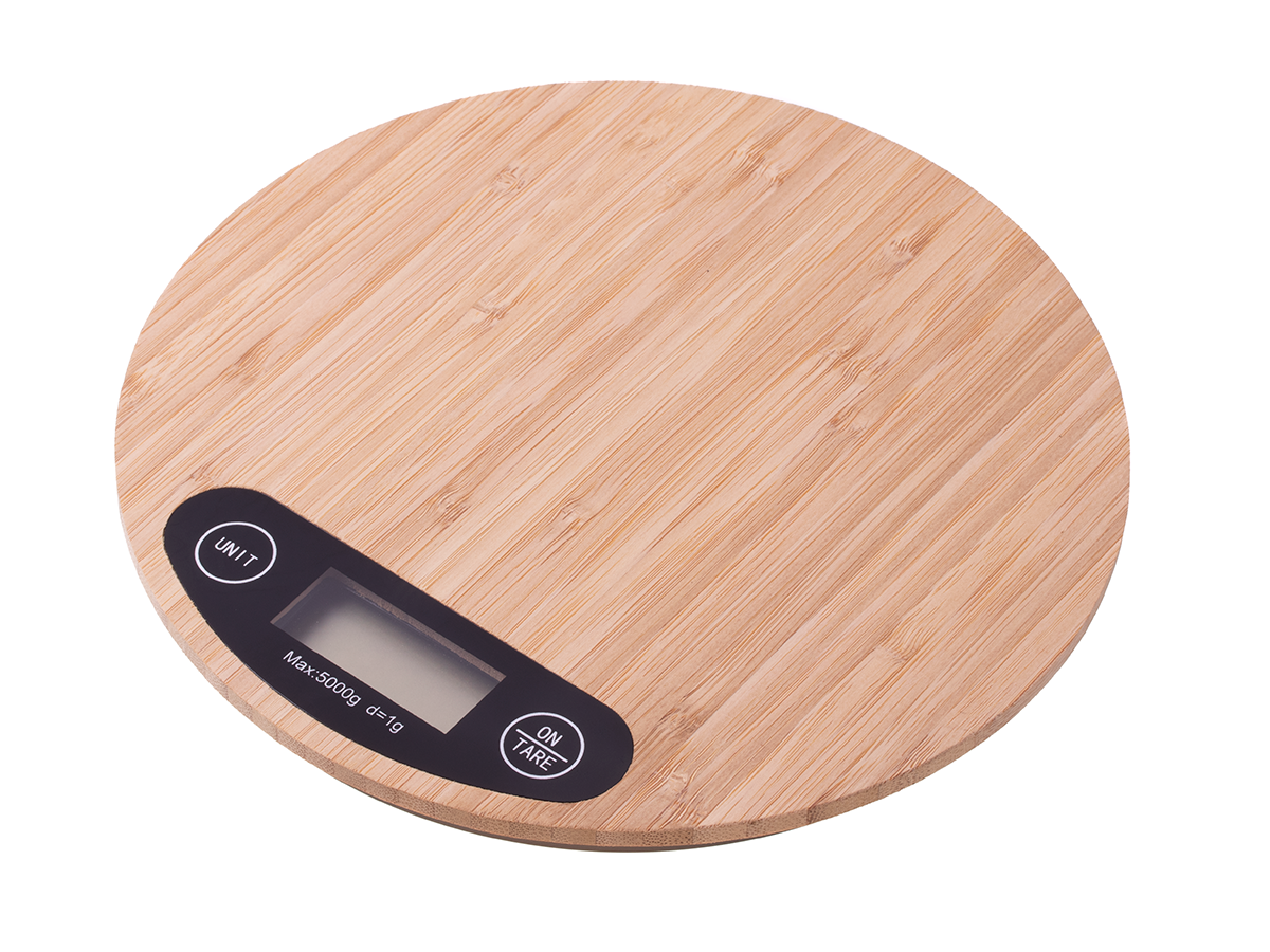 Electronic wooden kitchen scale 5 kg bamboo