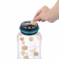 Piggy bank with a counter, counting Polish coins - PLN coins