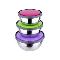 Set of 3 bowls with lids (stainless steel)